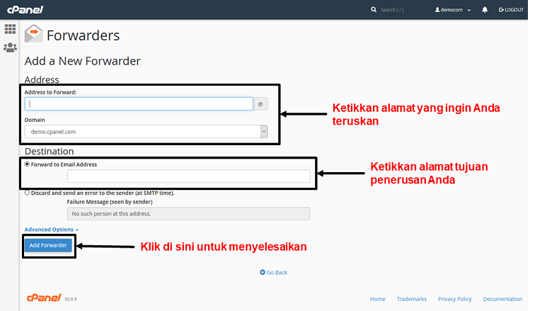 cPanel - email forwarders 2