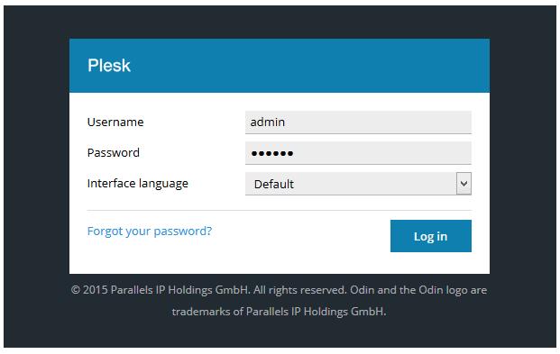 Plesk - login screen