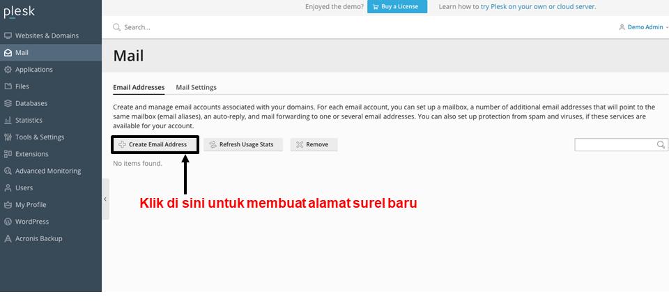 Plesk - create email address 1