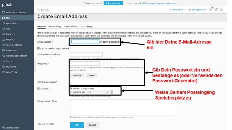 Plesk - create email address 2