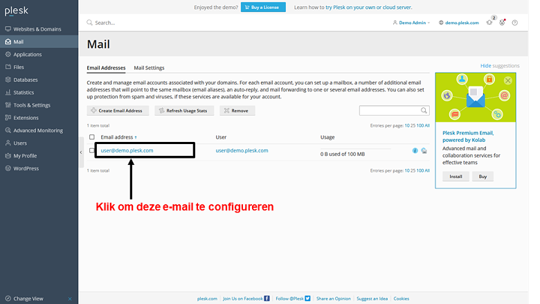 Plesk - email configuration 1