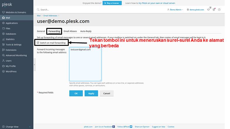 Plesk - email forwarding