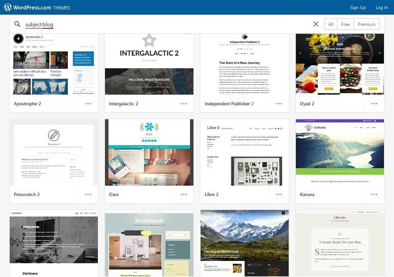 Wordpress.com blog themes