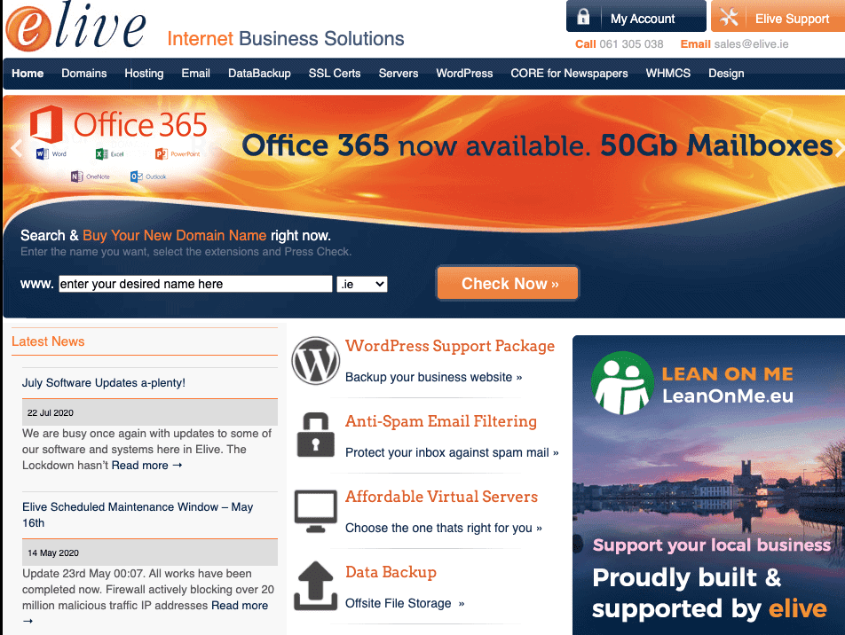 Screen capture of Elive's home page