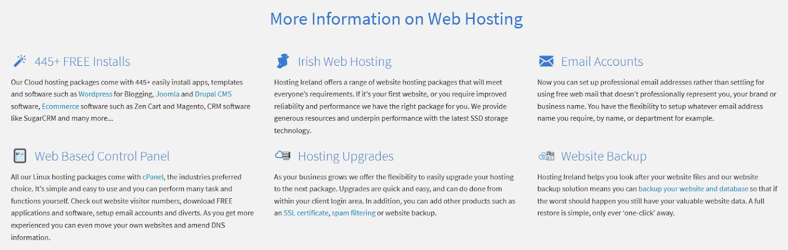 Screen capture of Hosting Ireland's feature details