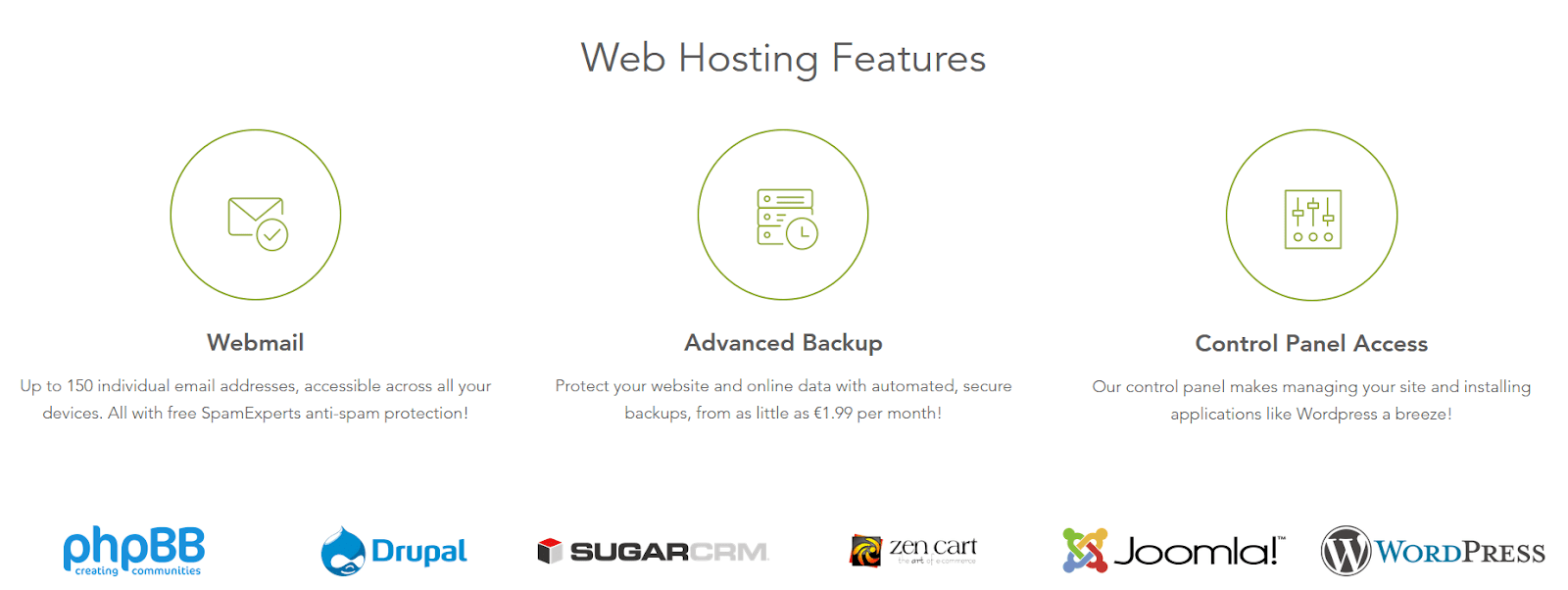 Screen capture of Blacknight's hosting features