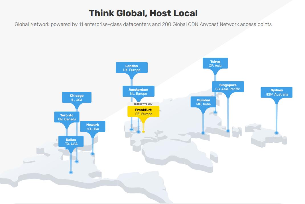 Screen capture of FastComet's data center locations