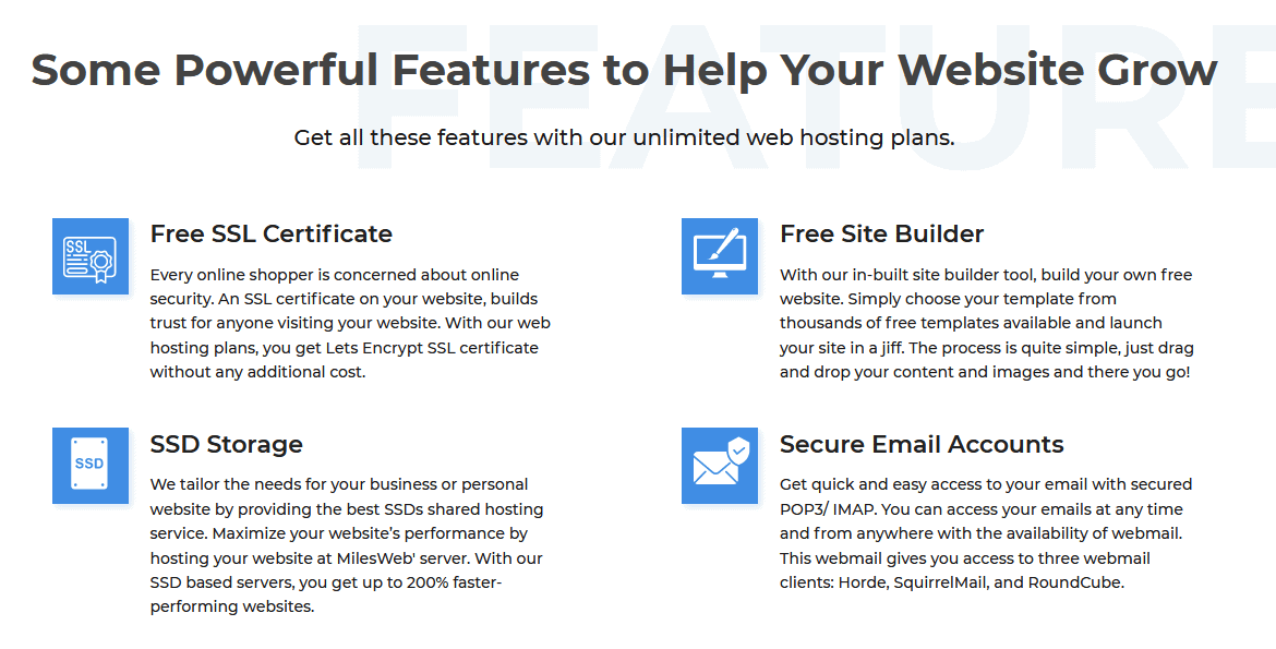 Plan features from the MilesWeb website