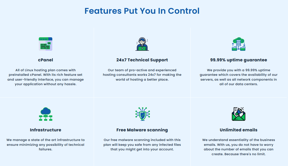 Some of Host IT Smart's plan features