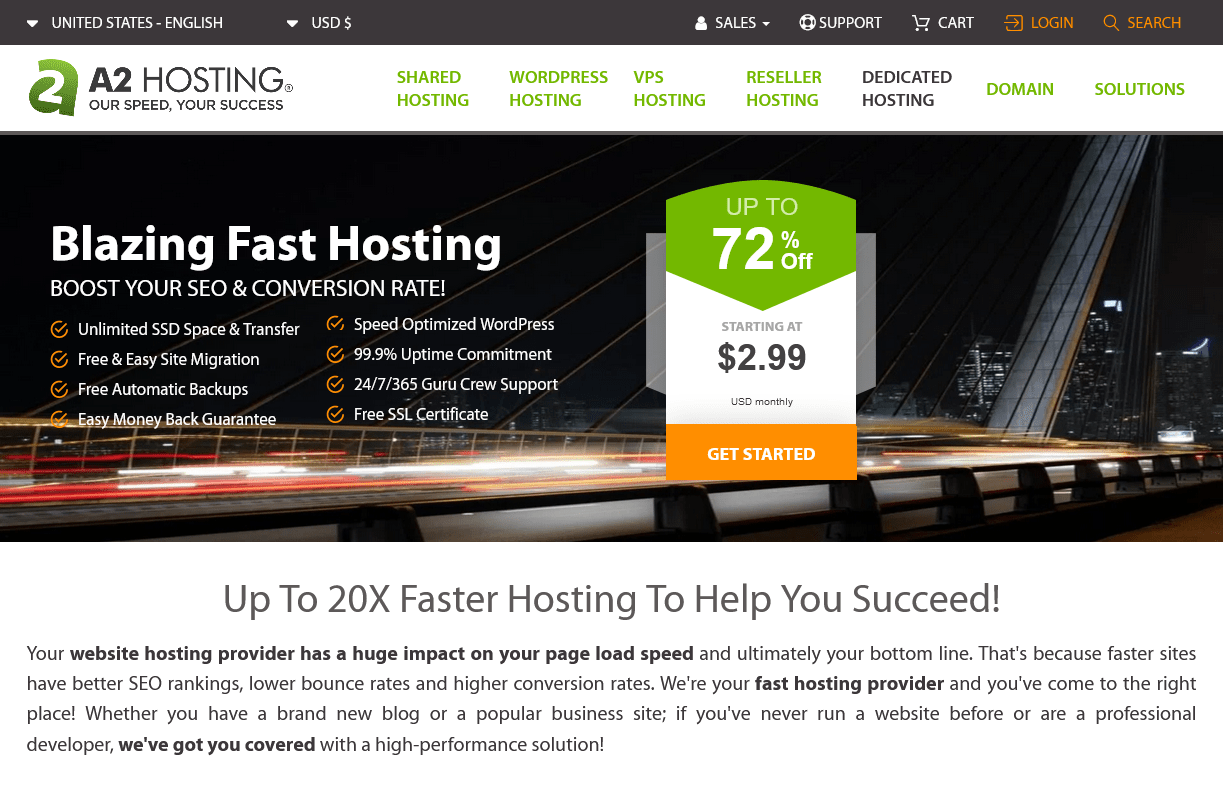 the A2 Hosting home page