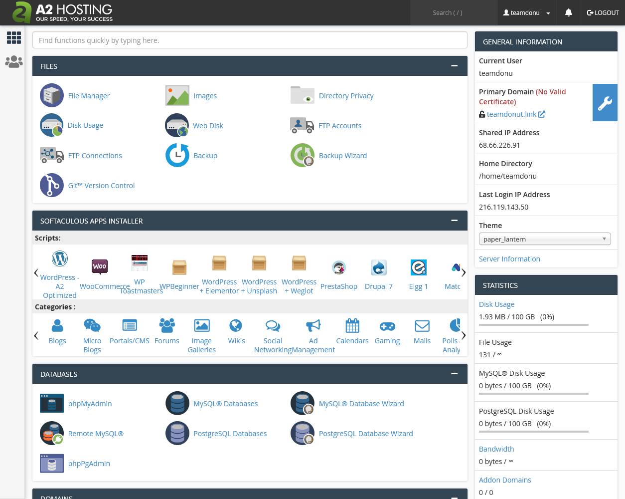 A2 Hosting's cPanel