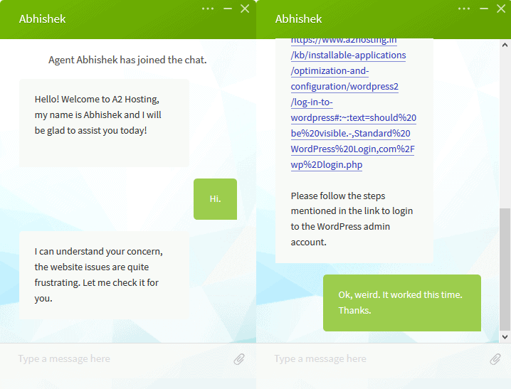 My conversation with live chat support