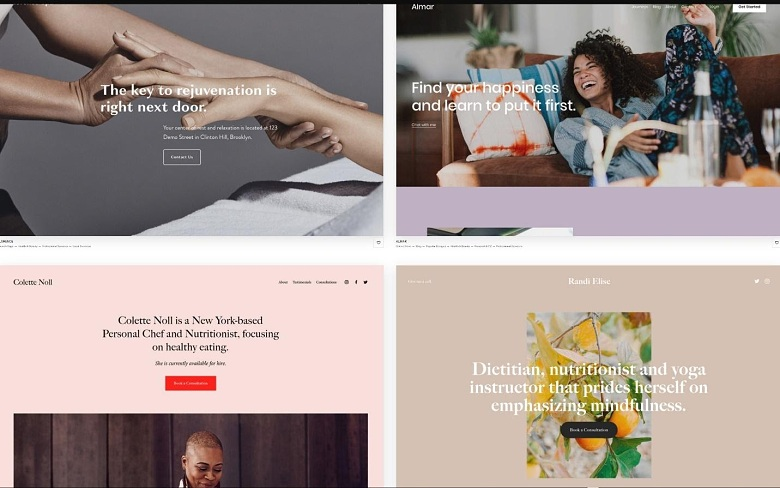 Squarespace health-and wellness related templates