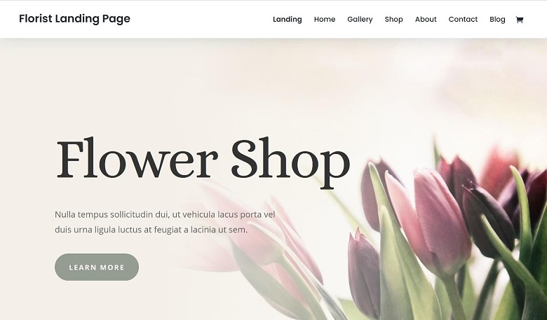 Elegant Themes Divi Florist Landing Page.