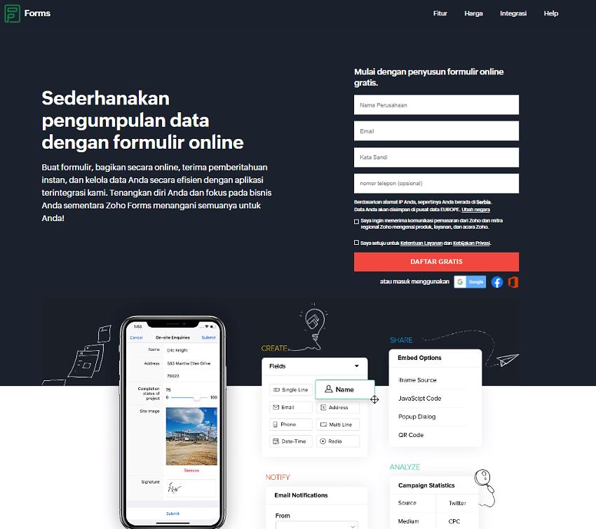 Zoho Forms - homepage