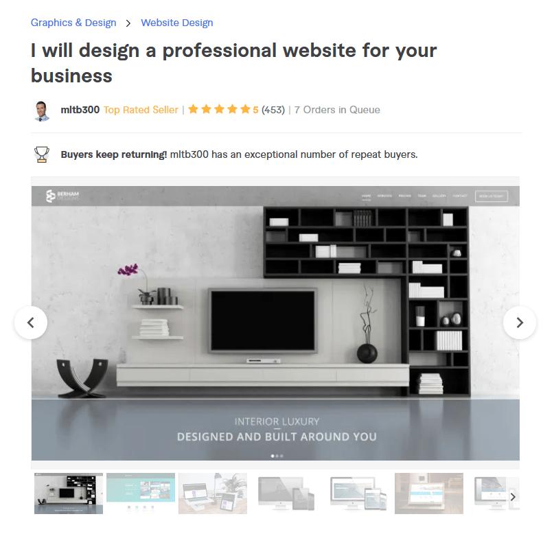 Fiverr freelancer bajone website design