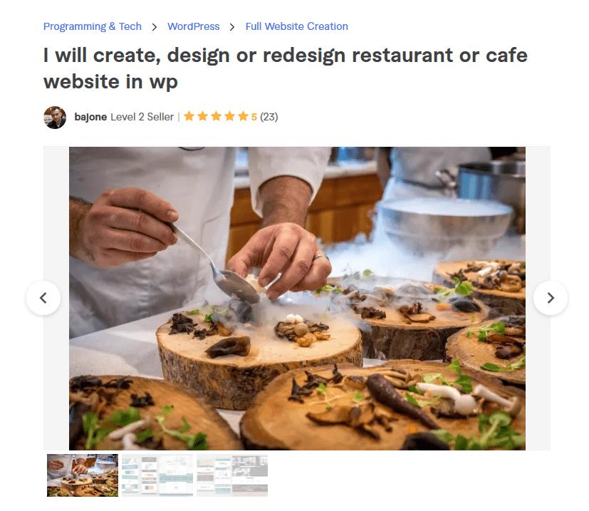 Fiverr freelancer bajone restaurant website design