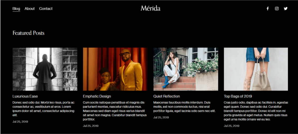 Squarespace Merida Homepage