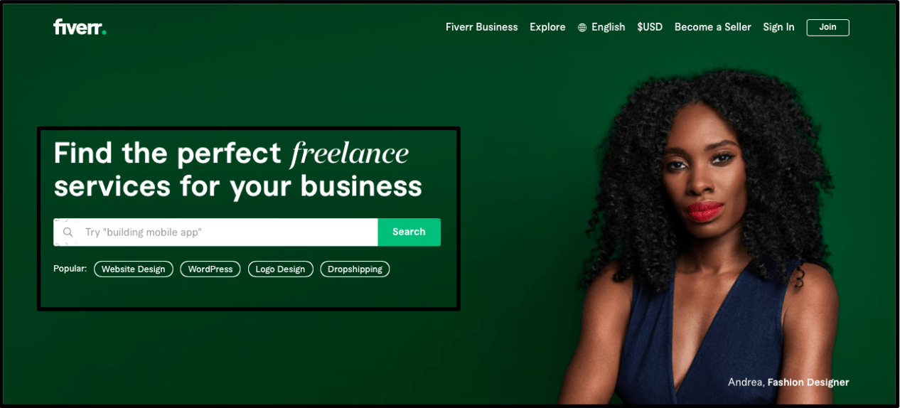 Fiverr homepage - searching for a freelancer on Fiverr