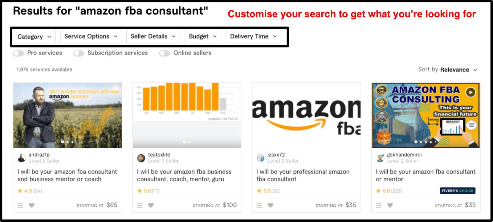 Amazon FBA Consultant search results on Fiverr