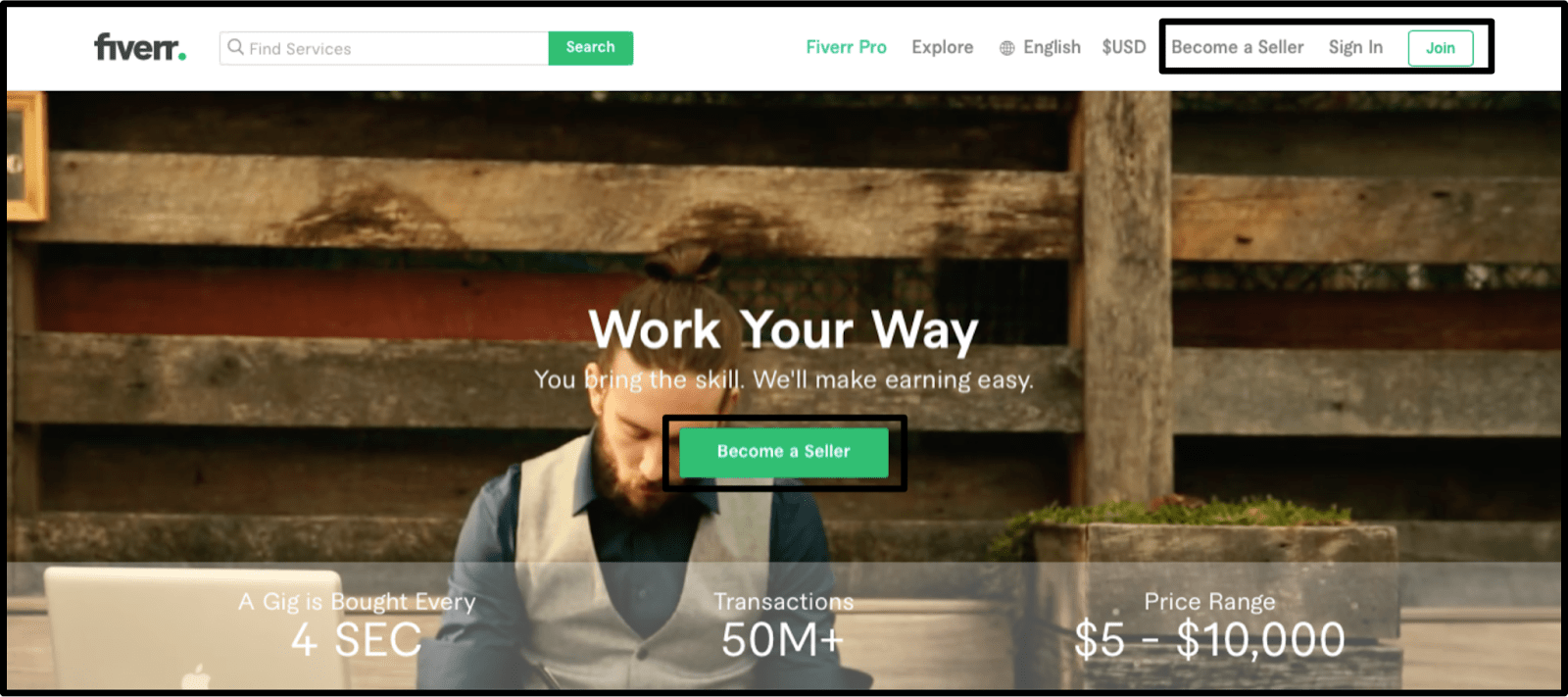 Fiverr homepage - Become a seller button