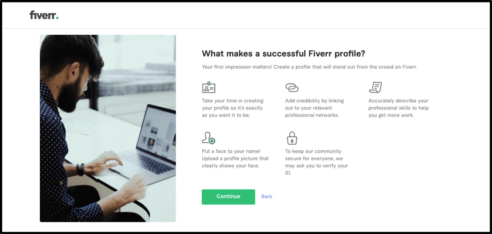 'What makes a successful Fiver profile' guidelines
