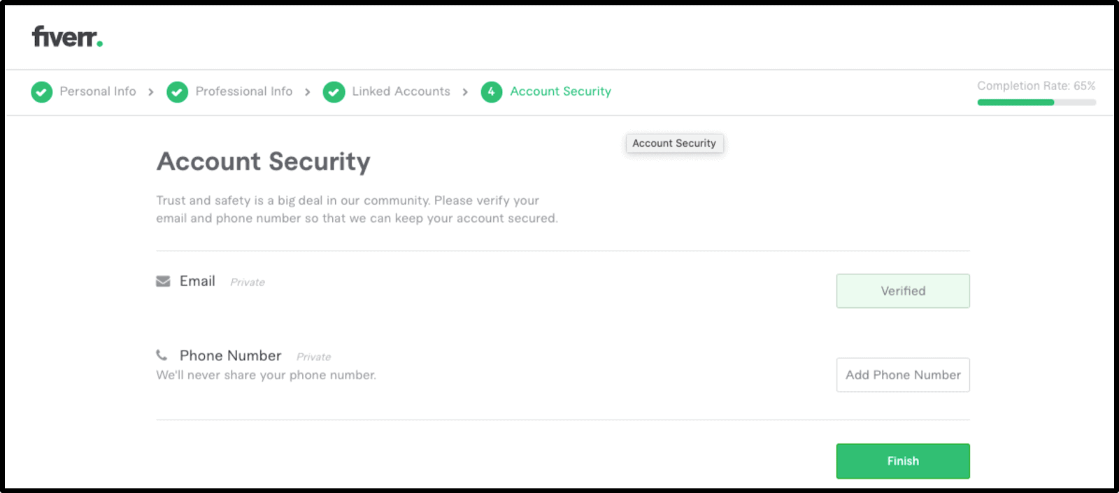 Fiverr account security page