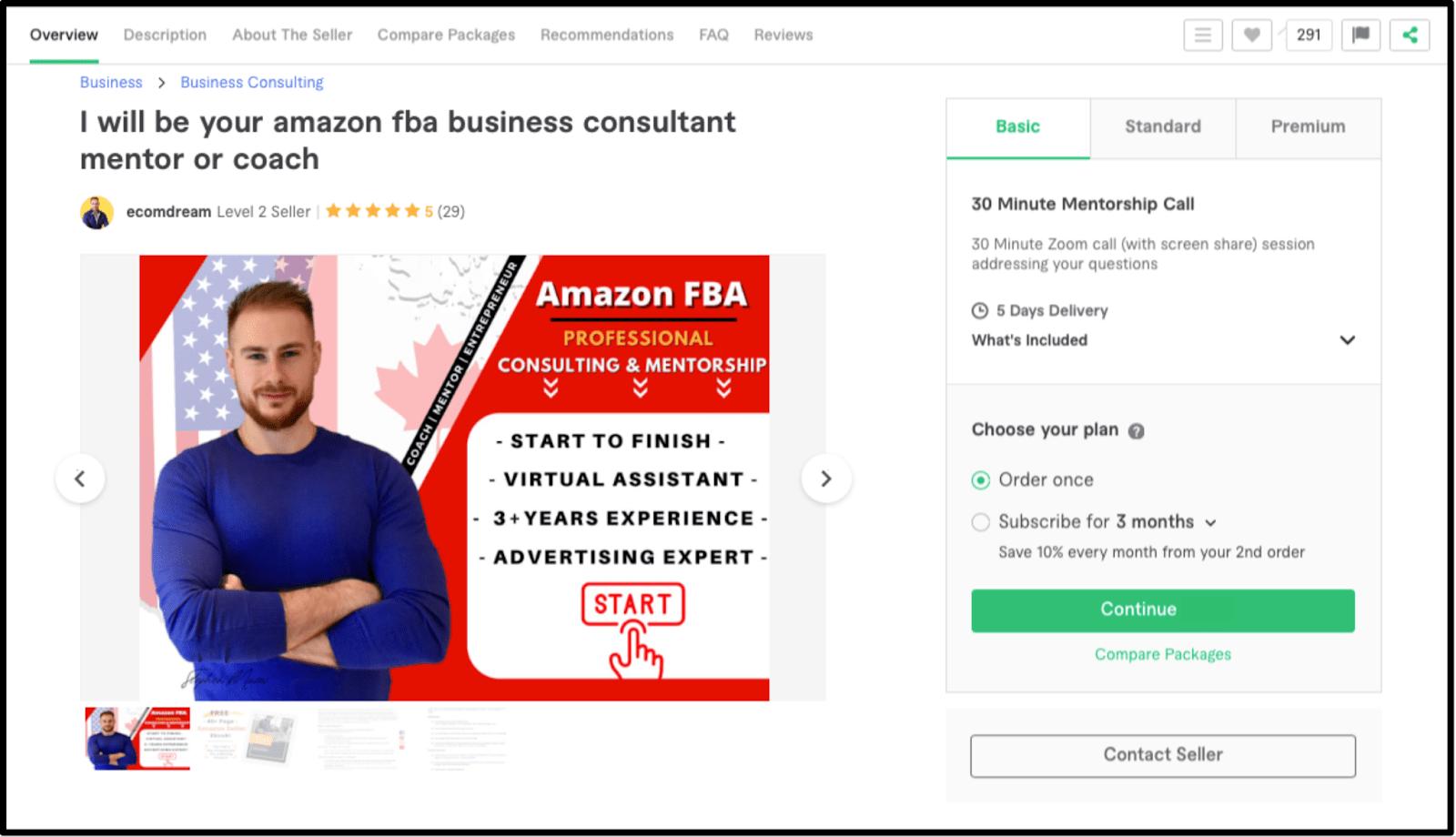 Freelance Amazon FBA coach Ecomdream Fiverr profile