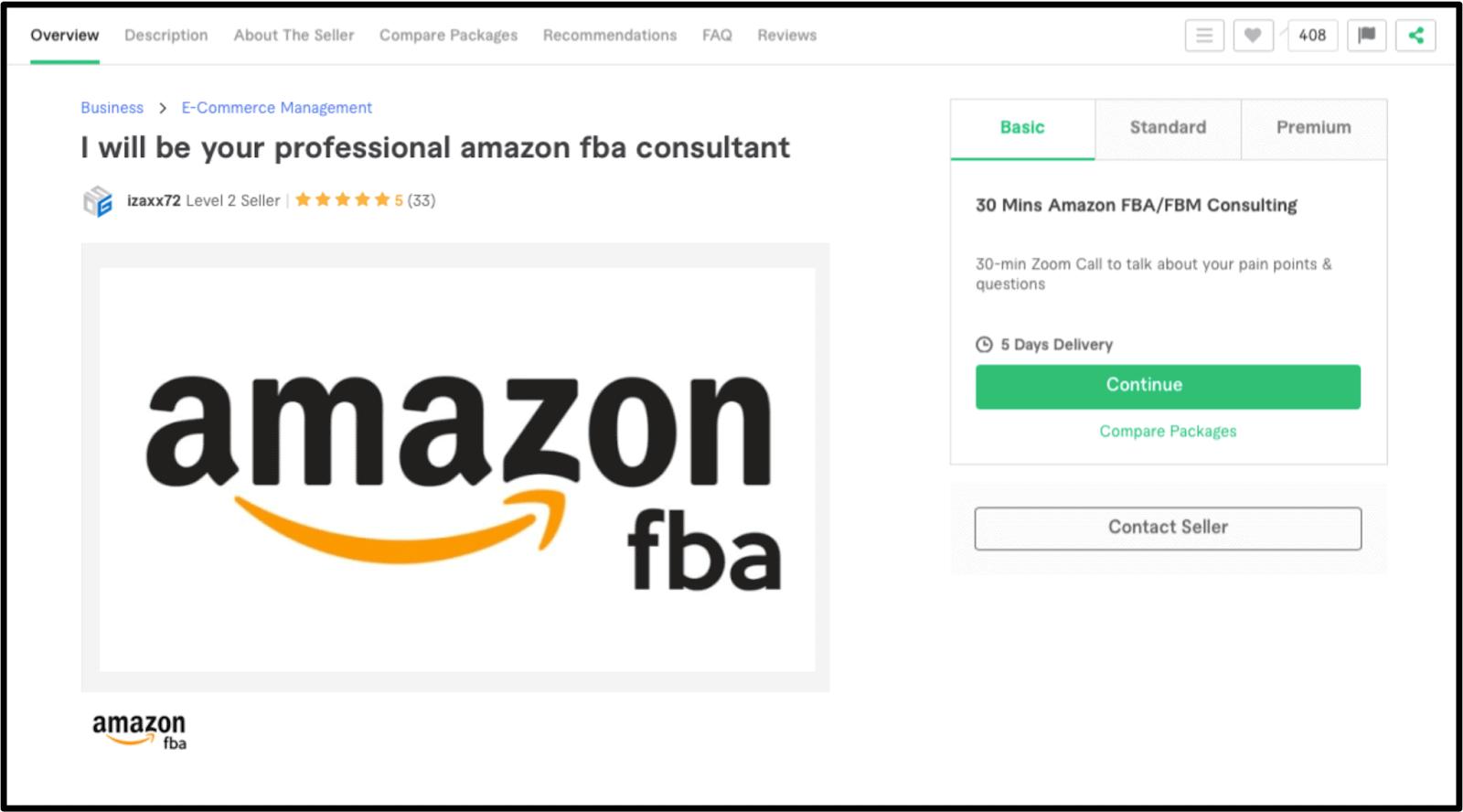 Amazon FBA Expert Izaxx72 Fiverr profile