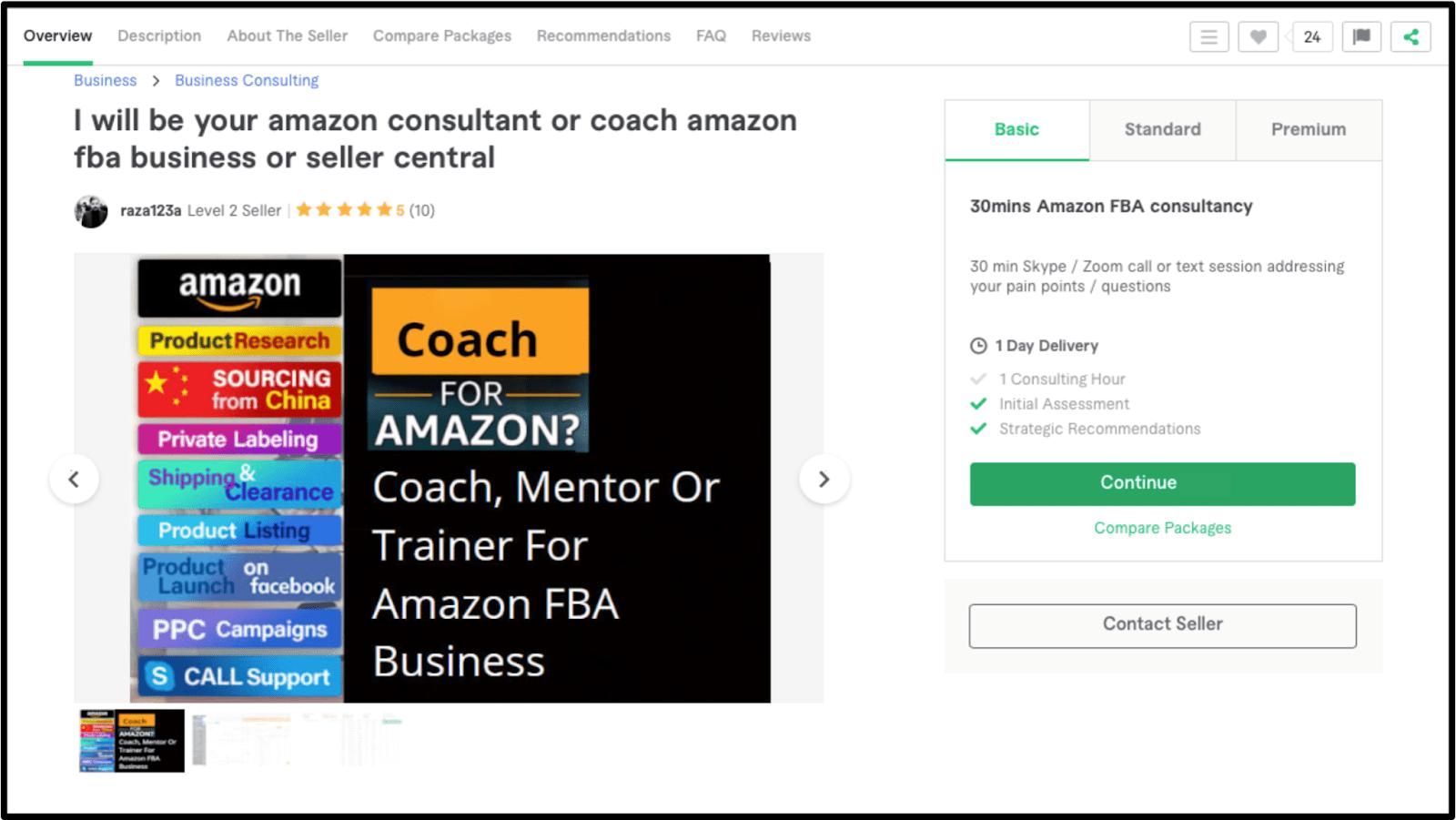 Amazon FBA Expert raza123a Fiverr profile