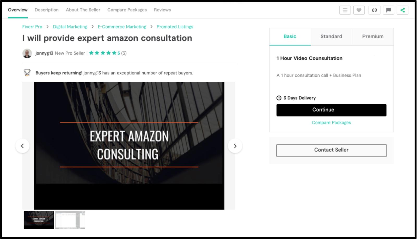 Amazon FBA pro-seller jonnyg13 profile on Fiverr