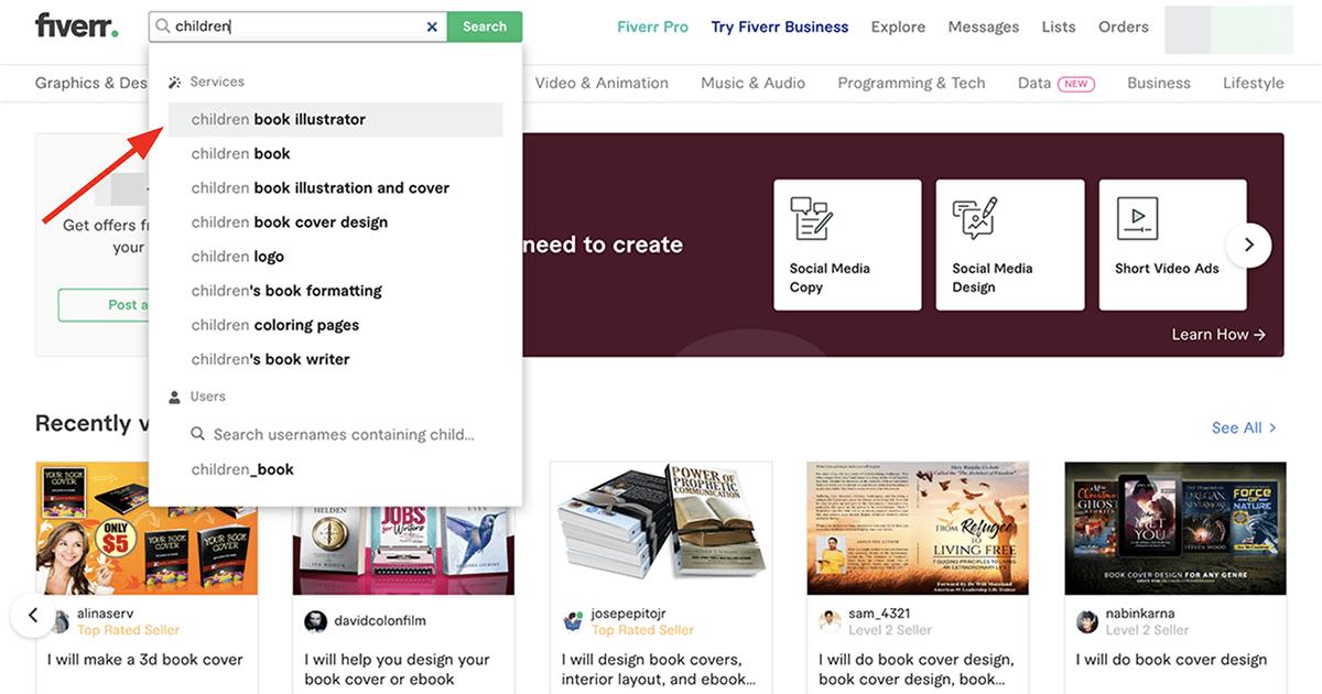 search for children's book illustrators on Fiverr