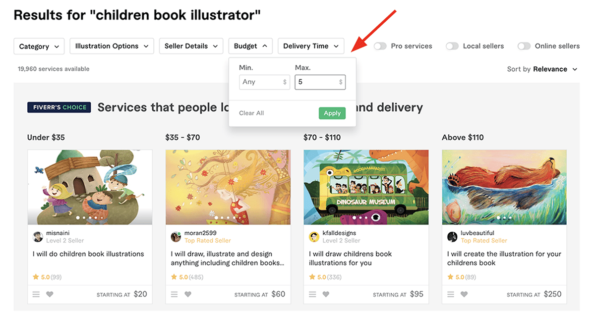 Fiverr search filters