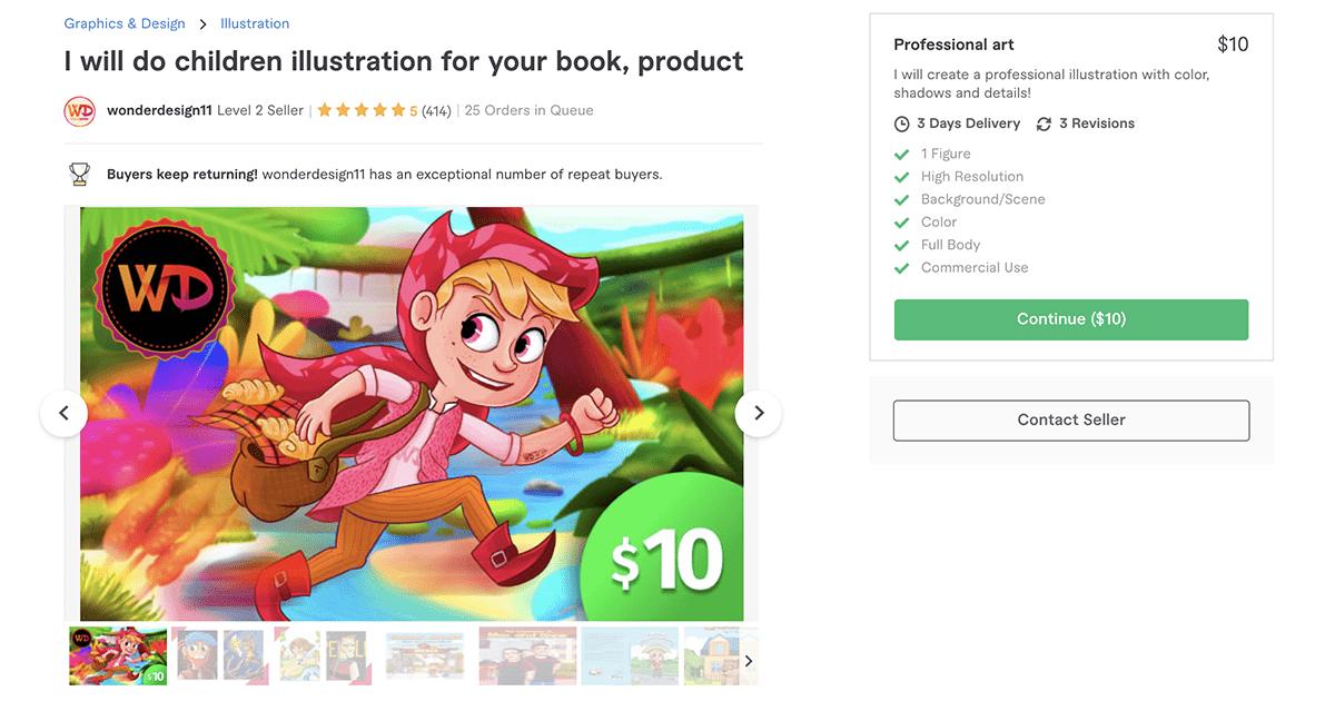 children's book illustrator on Fiverr – WonderDesign11