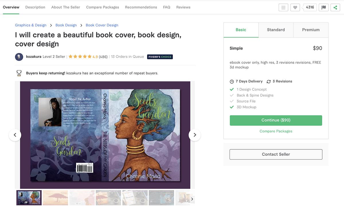 book cover design gig on Fiverr