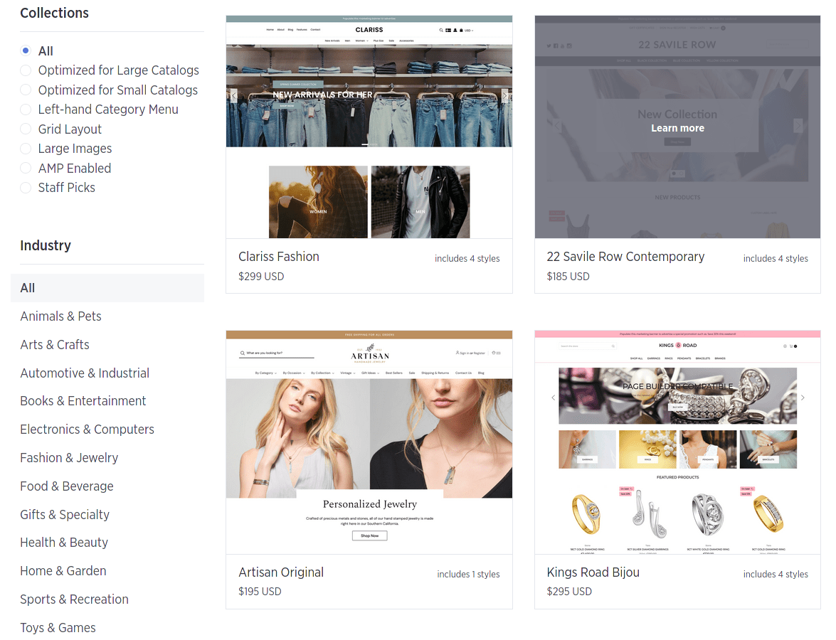 Some of BigCommerce's Themes