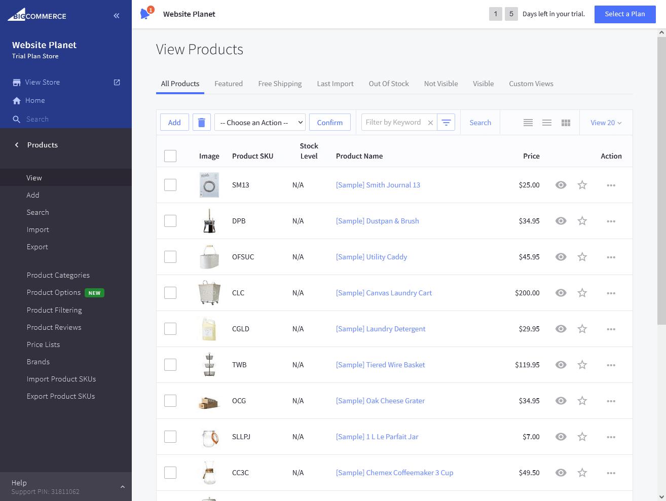 BigCommerce's Product Managment UI