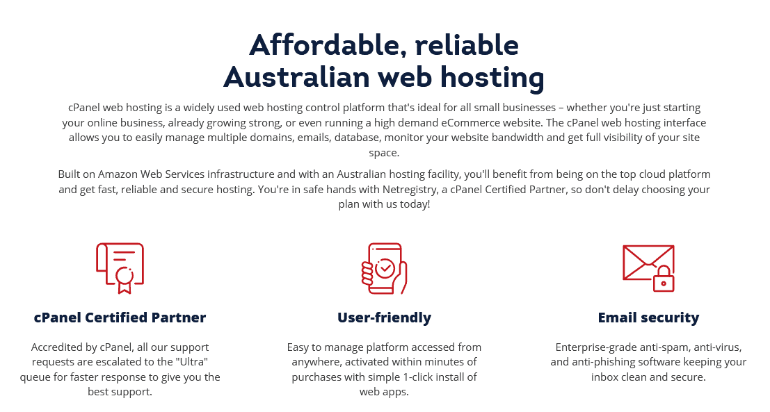 Netregistry - shared hosting features
