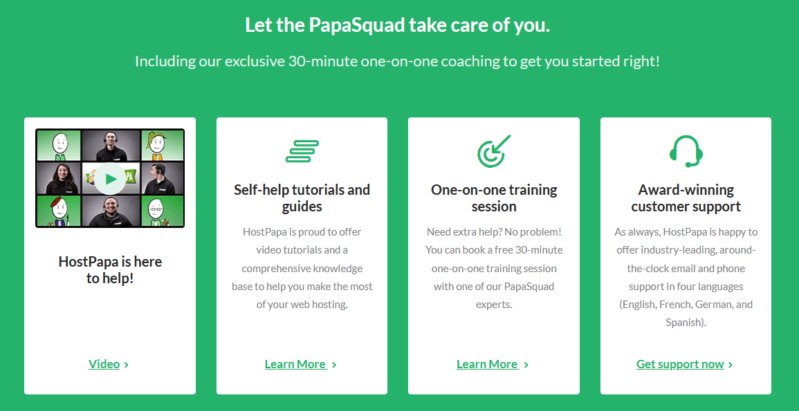 HostPapa - customer support options
