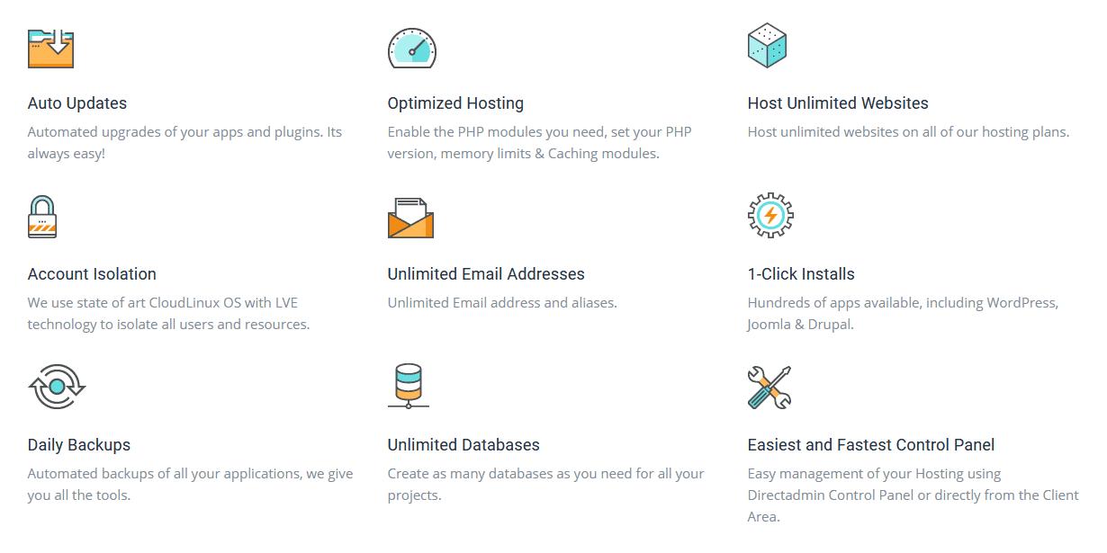 Bluebird Hosting - shared hosting features