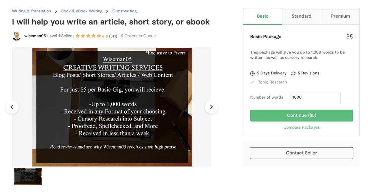 freelance book & e-book writer on Fiverr – Wiseman05
