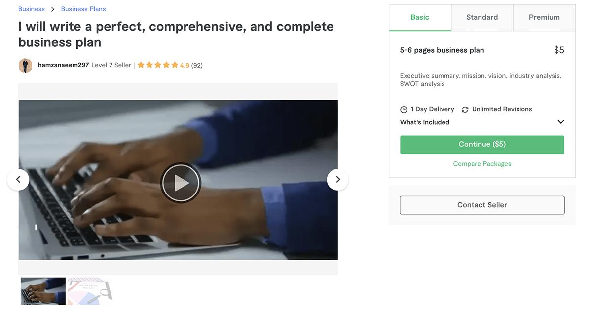 business plan writer on Fiverr – Hamzanaeem297