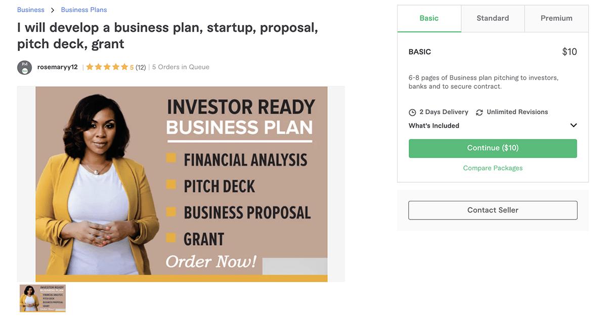 business plan writer on Fiverr – Rosemaryy12