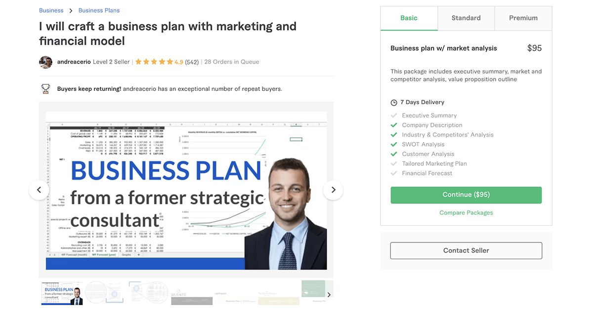 business plan writer on Fiverr – Andreacerio