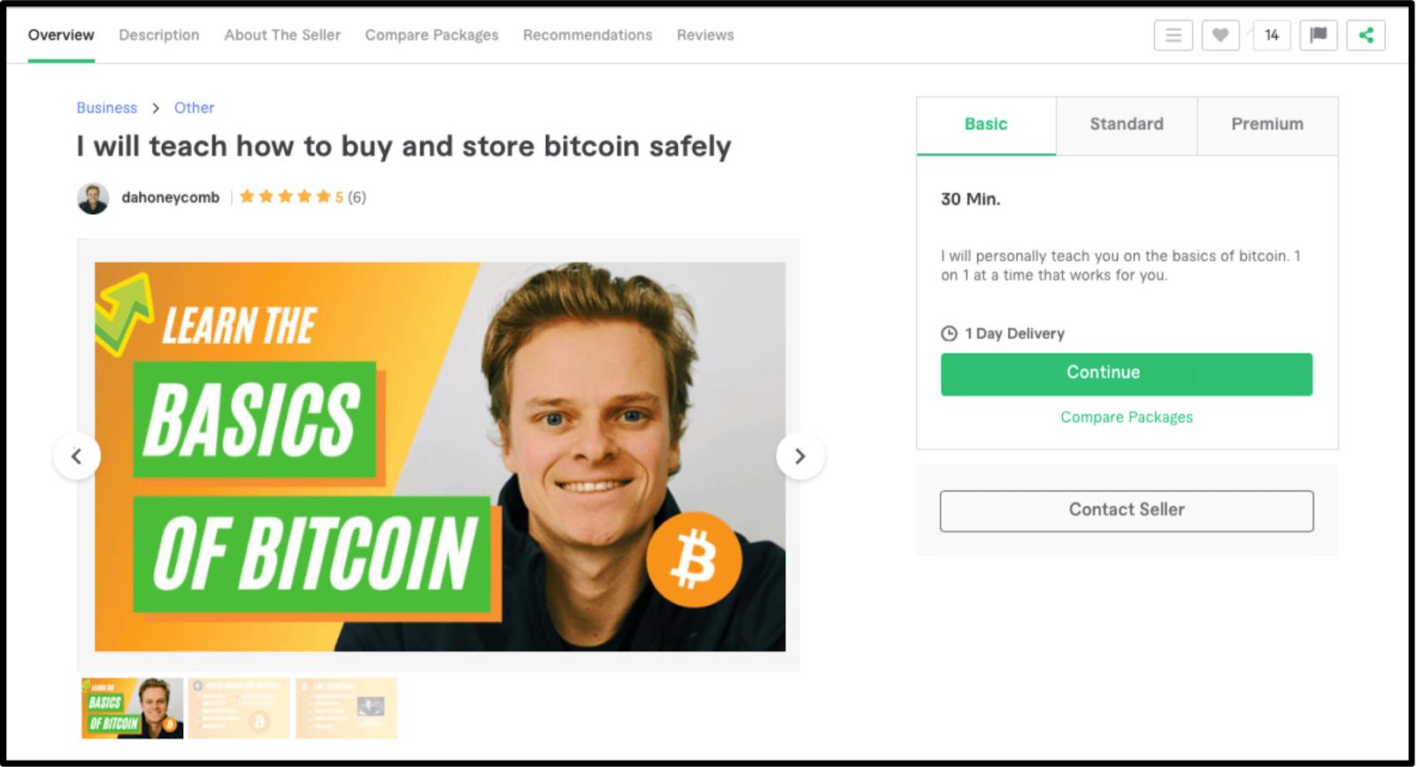Bitcoin expert Dahoneycomb Fiverr profile
