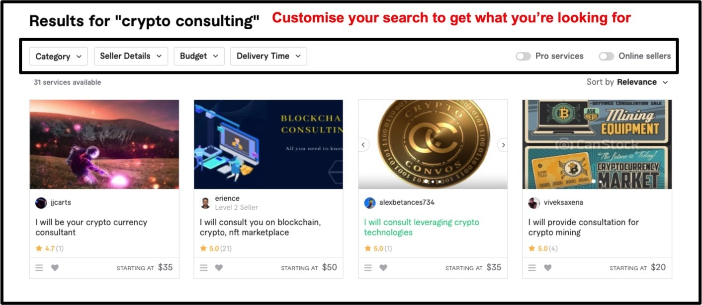 Crypto consulting search results on Fiverr