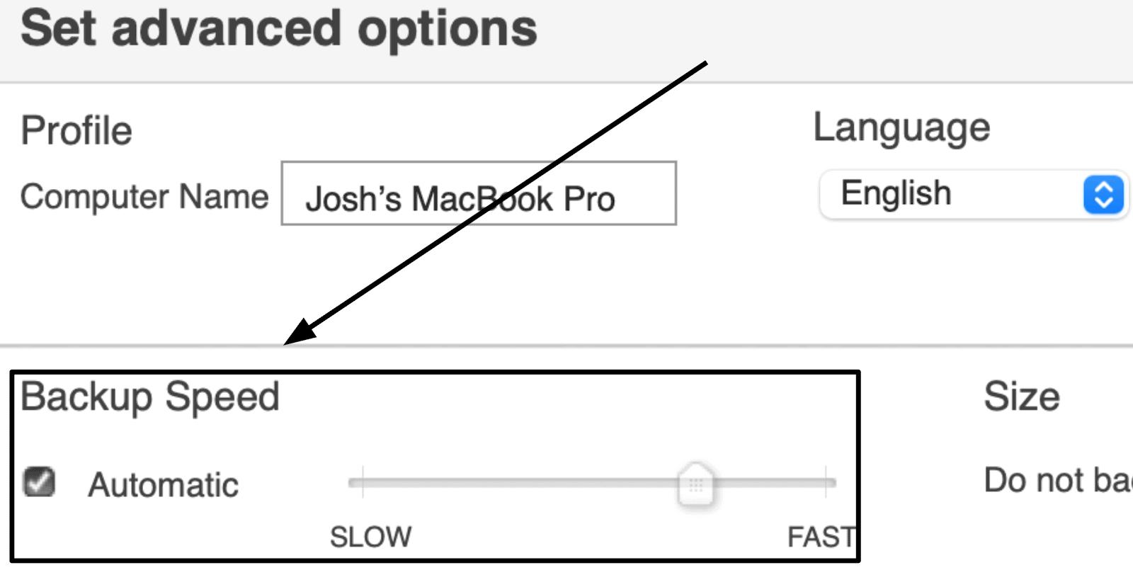 Memopal Backup Speed Settings