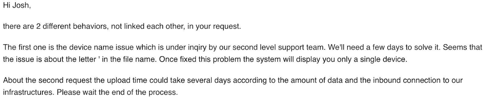 Memopal Support Email Response