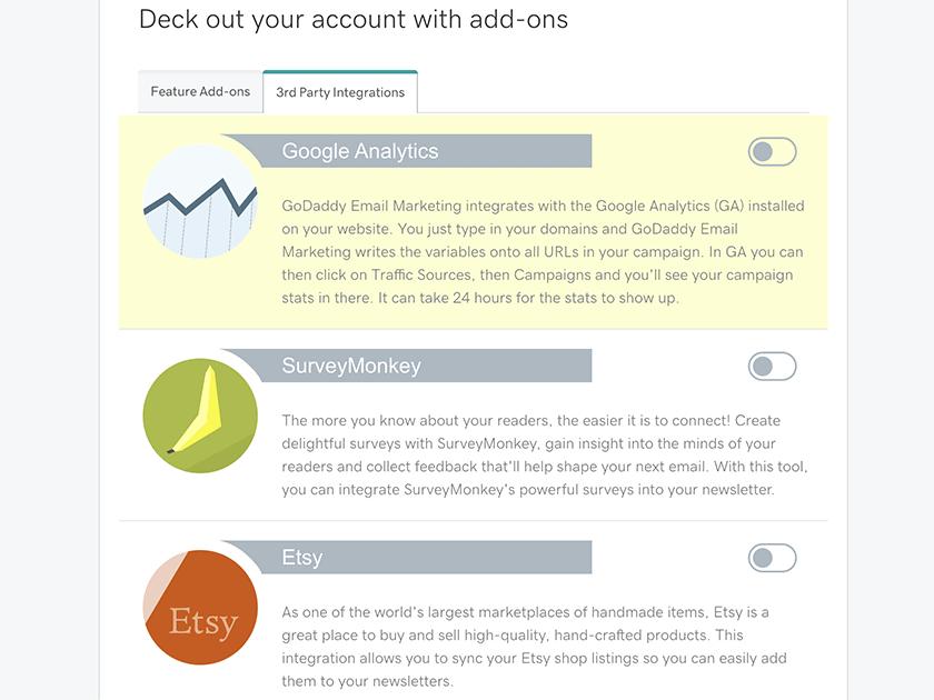 GoDaddy Email Marketing app integrations