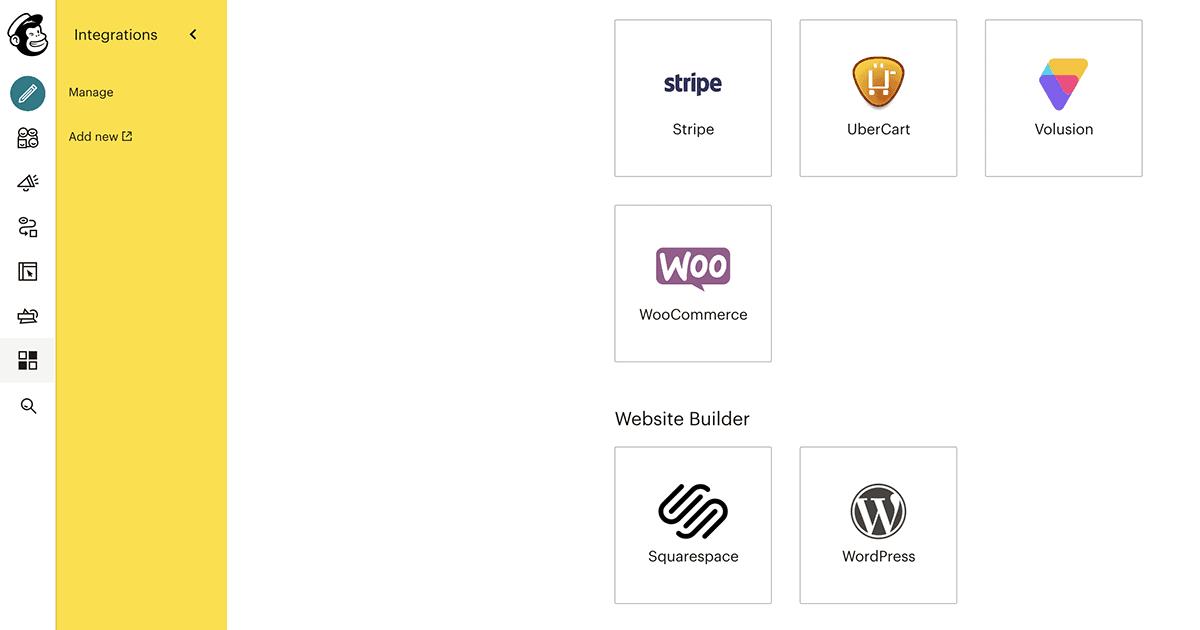 Mailchimp app integrations